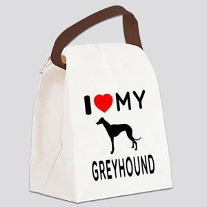 I Love My Greyhound Canvas Lunch Bag